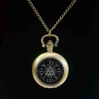 2017 new pagan wheel of the year pocket watch pentagram round photo wiccan jewelry glass cabochon pocket watch link chain