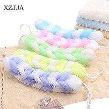 Gel de ducha XZJJA de doble Color largo para baño de flores, herramientas de espuma para el cuerpo Wisp, cepillo exfoliante en seco, esponja para la espalda
