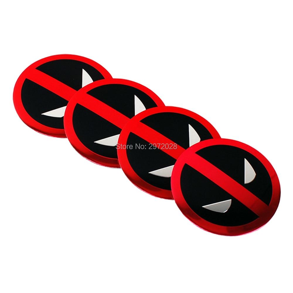 4 x diseño de coche dibujos animados Deadpool 3D Metal cromo aleación de aluminio rueda Centro Cap pegatinas rueda cubo Cap calcomanías emblemas insignias