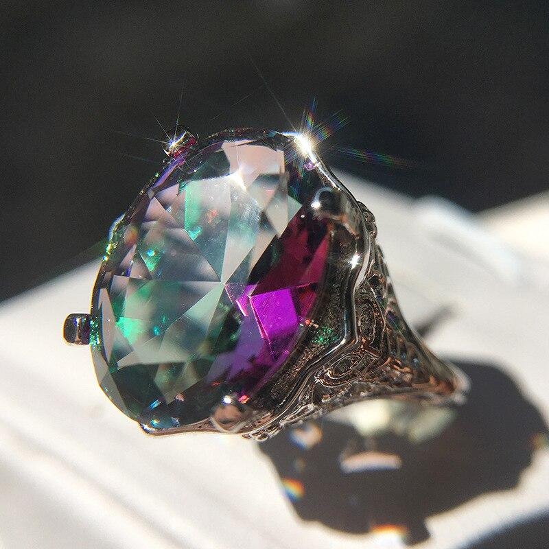 Mode Plata anneau nouveau style coussin coupe 3ct coloré Zircon pierre 925 en argent sterling fiançailles bague de mariage pour les femmes