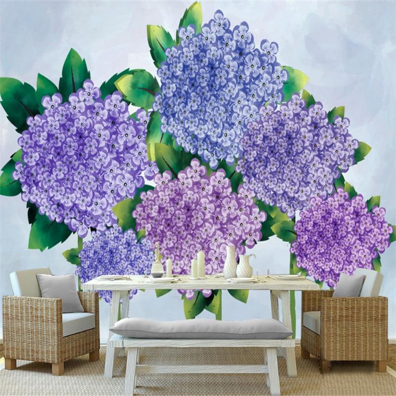 Papel pintado púrpura personalizado 3 d papel pintado moderno escritorio flor pared decoración dormitorio Decoración Cocina pared arte niños habitación decoración estudio