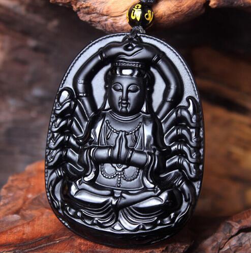 Alta calidad obsidiana negra Natural tallada en mil brazos de Buda Guanyin COLLAR COLGANTE para Mujeres Hombres colgantes joyería