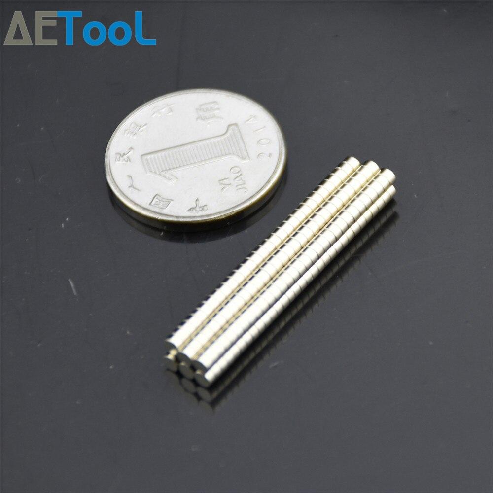 AETool 50 Uds a granel pequeña disco de neodimio NdFeB redondo imanes Dia 2x1 3x1 4 1x5x1mm N35 súper poderoso fuerte imán de tierra rara