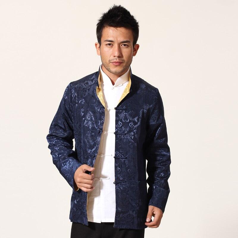 Azul Marino oro chino hombres chaqueta de satén de dos caras abrigo de kungfú Mandarin Collar Tang traje de abrigo, M, L, XL, XXL, XXXL MN13