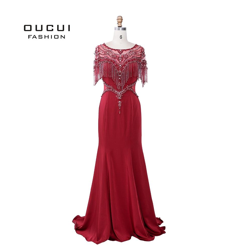 Real Photo Soft Satin Illusion Evening Dress with Cap Beading Tassels Crystal Mermaid Gown Arabic Robe De Soiree 2019 OL103488