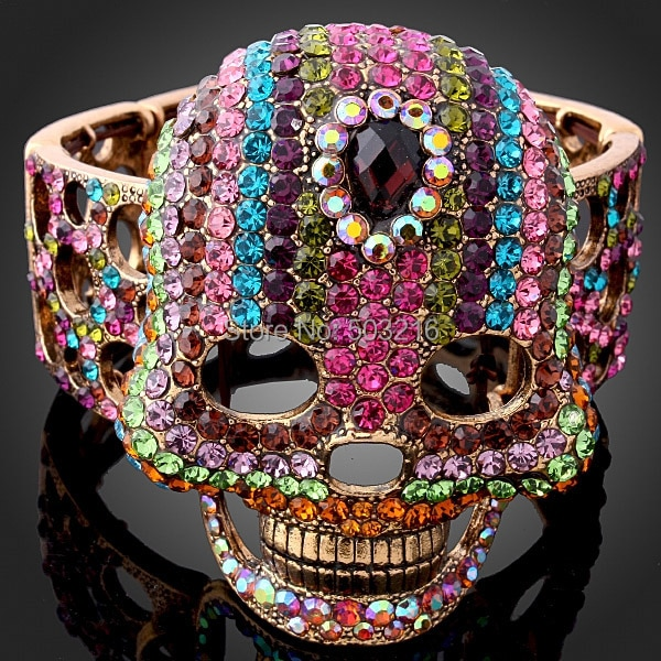 CHRAN Muti Crystal Vintage Jewelry Bangle & Bracelets  Promotion Gold Color Fashion Hollow Designer Big Skull Bangle for Women