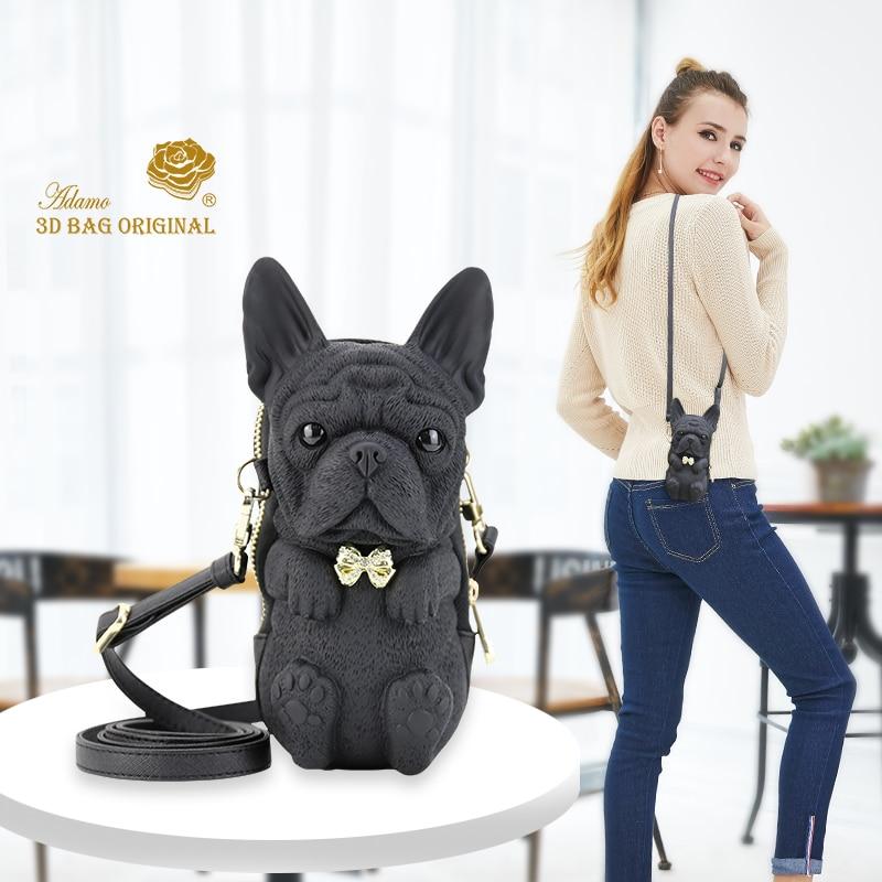 Adamo 3D Original Bulldog francés Sling Bag de alta calidad para mujer bolso de hombro de marca de lujo bolsos de mujer de moda