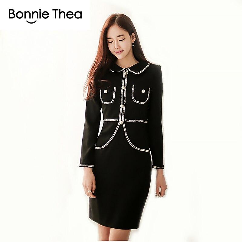 Bonnie Thea de invierno negro perla Mujer vestidos elegante oficina trabajo OL vestido ajustado para Mujer vestidos cortos ropa de mujer