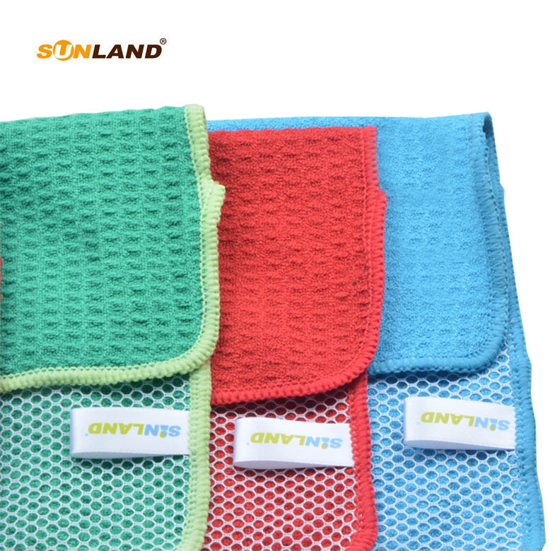 Paño de plato de microfibra Sinland con lado poli Scour de 12x12 pulgadas, surtido de azul/verde/rojo 12 paquetes 100 piezas