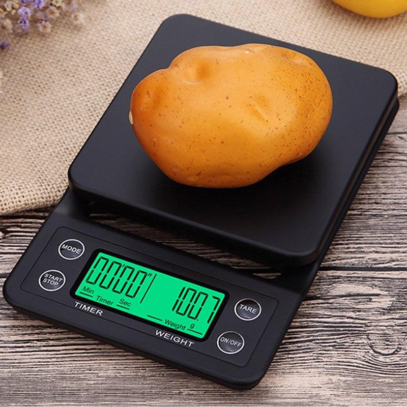 1 قطعة مقياس القهوة الإلكترونية المحمولة مع الموقت LCD الرقمية وزنها أداة للمطبخ