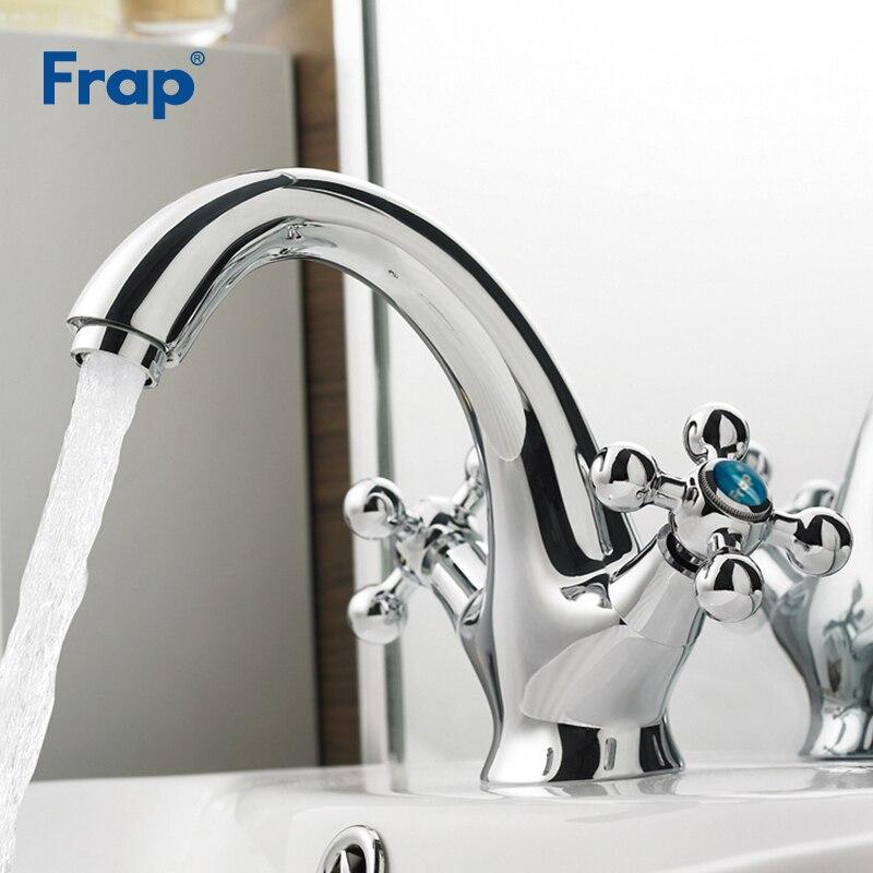 Frap-حنفيات خلاط مياه ساخنة وباردة مثبتة على سطح السفينة ، لحوض الحمام ، صنبور بمقبض مزدوج ، F1019