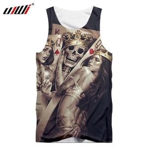 UJWI Brand New Poker Skull Men's Waistcoat 3D Printing O-ring Sleeveless Vest Bodybuilding Clothes Fashion Casual Tank Tops