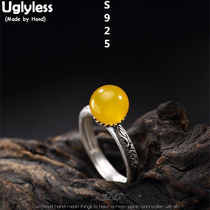 Anillos de Calcedonia Uglyless de plata fina 990 de lujo para mujer, diseño de flores hecho a mano Vintage, anillo abierto, joyería de bola