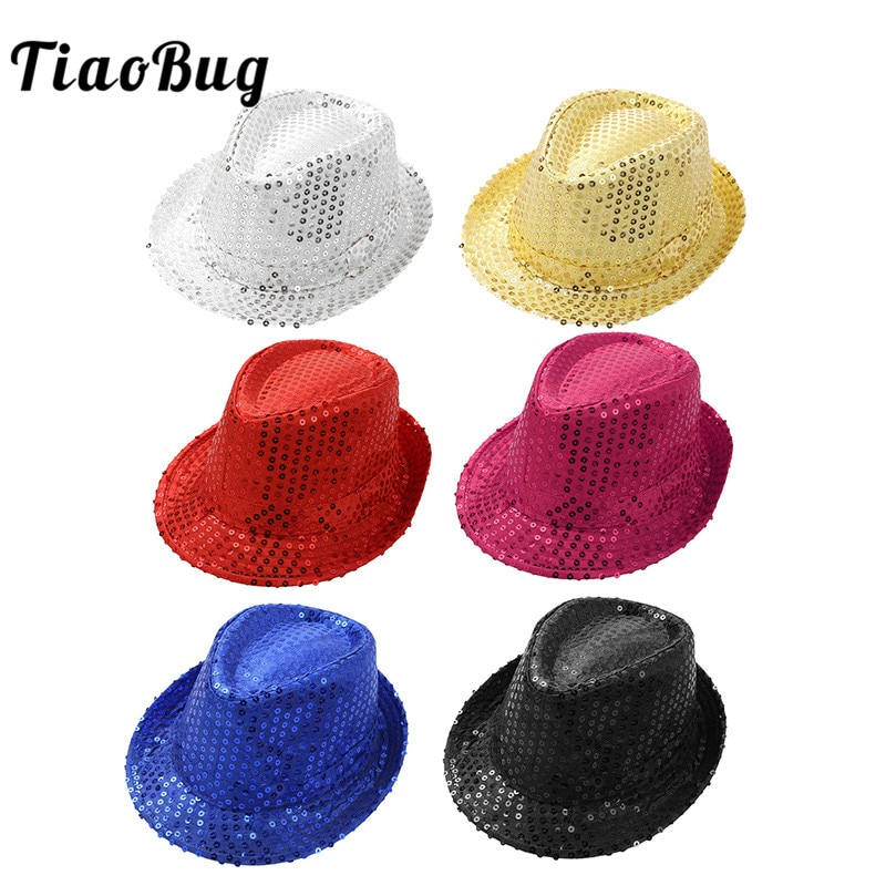 TiaoBug Unisex niños de Color sólido brillante lentejuelas Fedora sombreros para niño o niña etapa fiesta Jazz Dance traje accesorios Street Dance Cap
