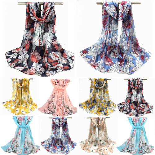 Moda mujer Chiffon Floral pluma bufanda damas de abrigo largo chal de mujer verano playa Mujer bufandas