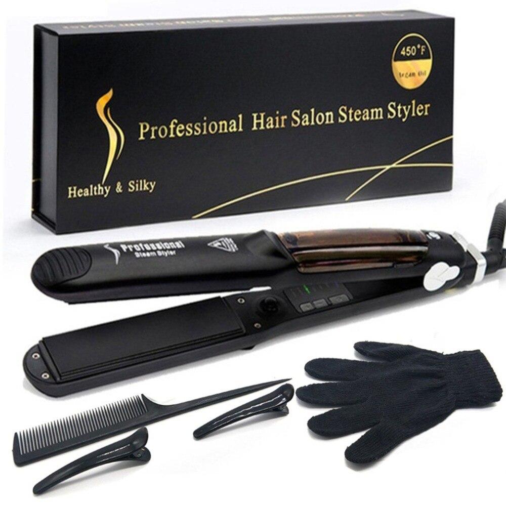 Выпрямитель для волос с керамической нагревательной пластиной, паровой выпрямитель для волос с аргановым маслом, инструмент для укладки во...