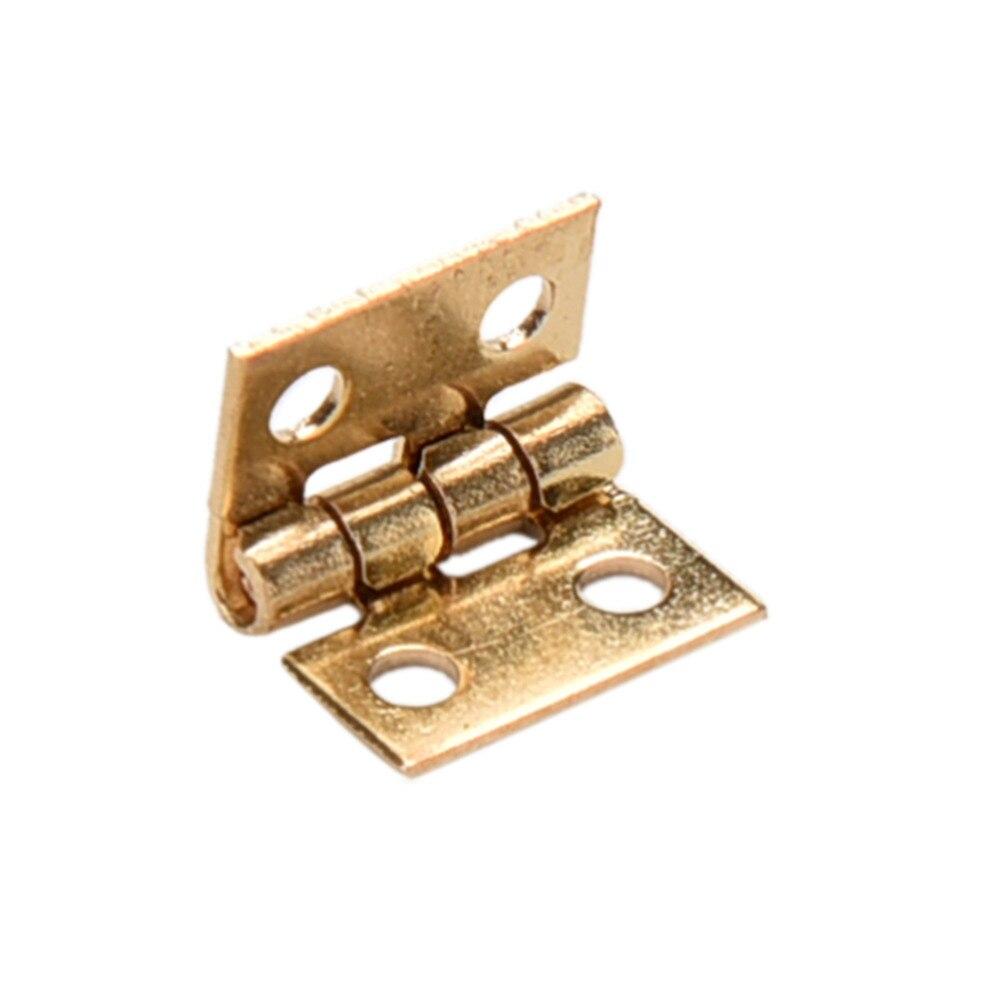 Mini bisagra pequeña para casa de muñecas, armario en miniatura, muebles, cajón, bisagra de tope de cobre 10 Uds.