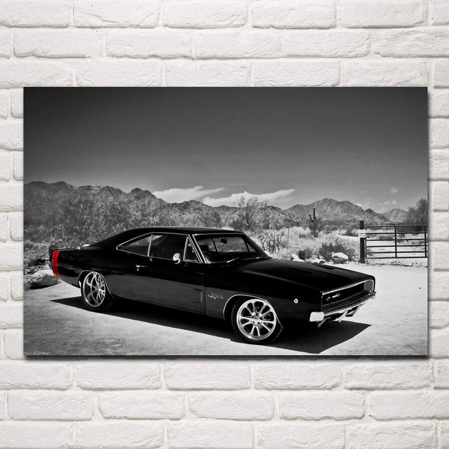 Classis retro american muscle sports car 1970 Caricatore KC282 living room della parete della casa di arte moderna della decorazione cornice in legno tessuto poster
