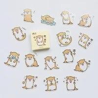 45pcs box kawaii otter adhesive diy sticker stick label notebook album diary decor student stationery kids gift