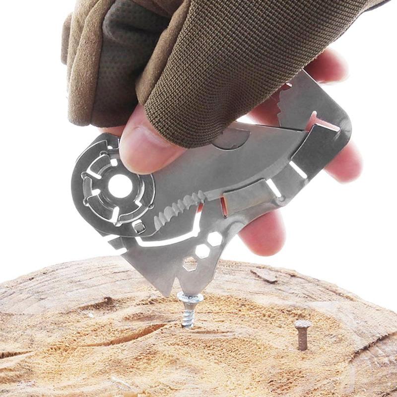 Herramientas de bolsillo portátiles al aire libre creativo cabeza de Lobo Multi-función de acero inoxidable billetera de acero EDC cuchillo de tarjeta al aire libre cuchillo plegable