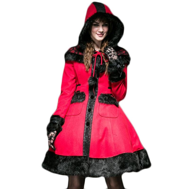 معطف من الصوف القوطي لوليتا للنساء ، معطف شتوي بغطاء للرأس ، جاكيت أحمر لطيف دوللي ، معطف طويل من الصوف مع قبعة ، معاطف بأكمام طويلة