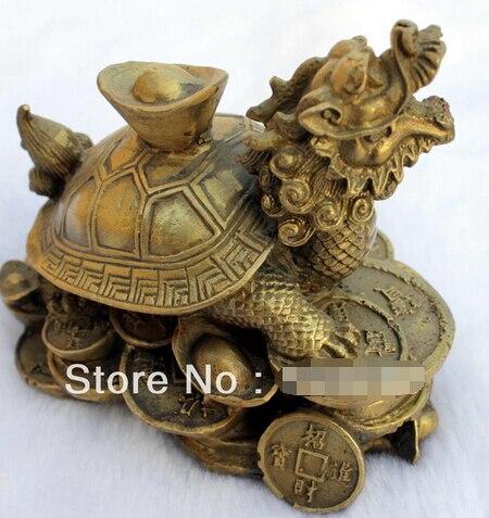 Envío Gratis suerte manualidad China bronce, feng-shui tortuga dragón estatua