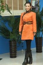 Colore arancione Mongolia nazionalità costume abiti Mongolia camoscio vita Familiare Veste abiti di moda femminile la vita della ragazza