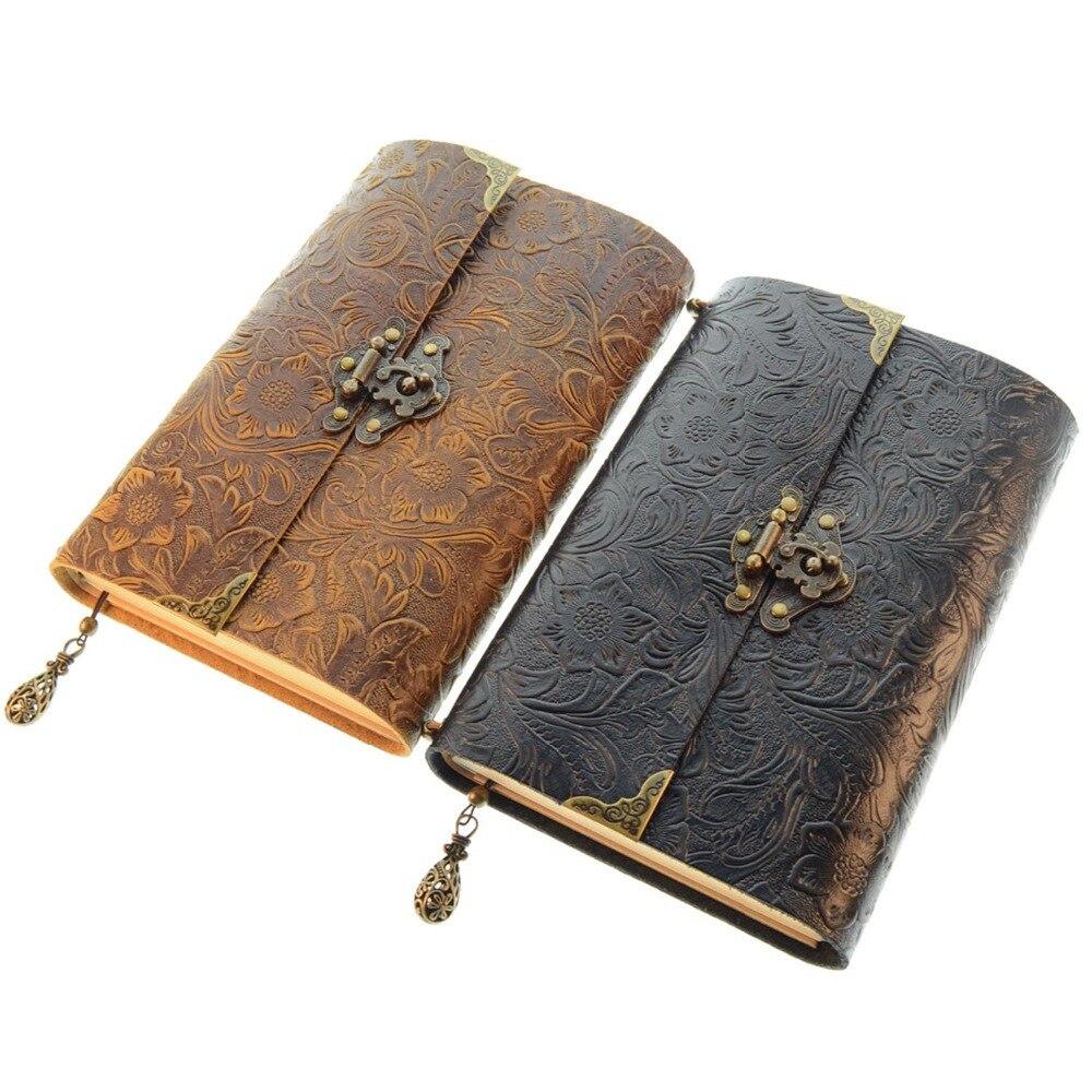 Cuaderno de viaje de cuero con patrón en relieve suave con cerradura y llavero diario Bloc de notas papel Kraft