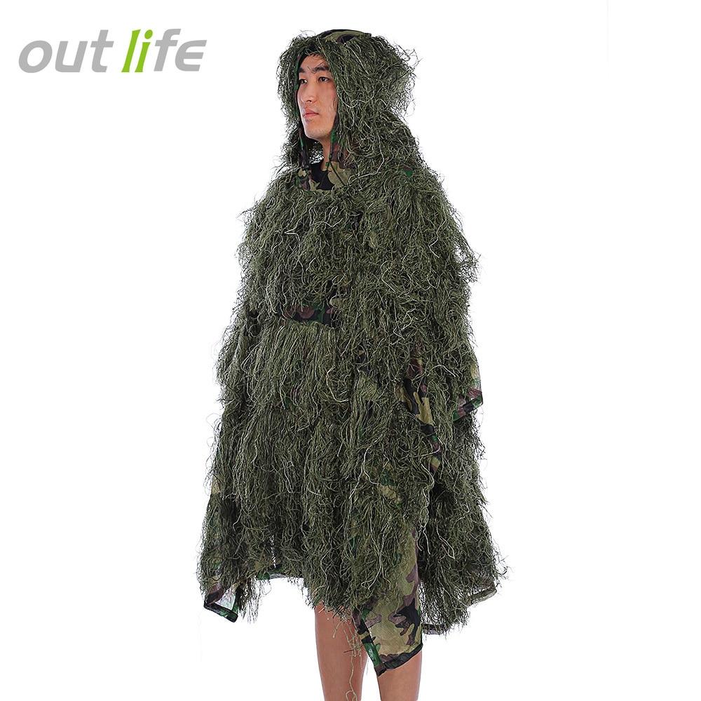 Outlife CS camuflaje capa jungla Ghillie traje 3D biónico caza disfraz uniforme francotirador jungla militar tren caza tela