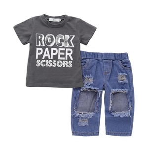 Baby Boy Clothes Summer Baby Boy Short Sleeve Letter Print T-shirt Tops+Hole Design Denim Pants Trousers Toddler Casual Outfits