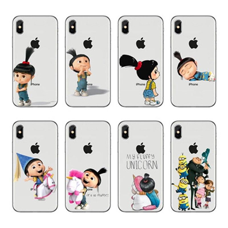 L002 agnes unicórnio macio tpu caso capa de silicone macio para apple iphone 6 7 4 8 plus x 5 capa transparente coque