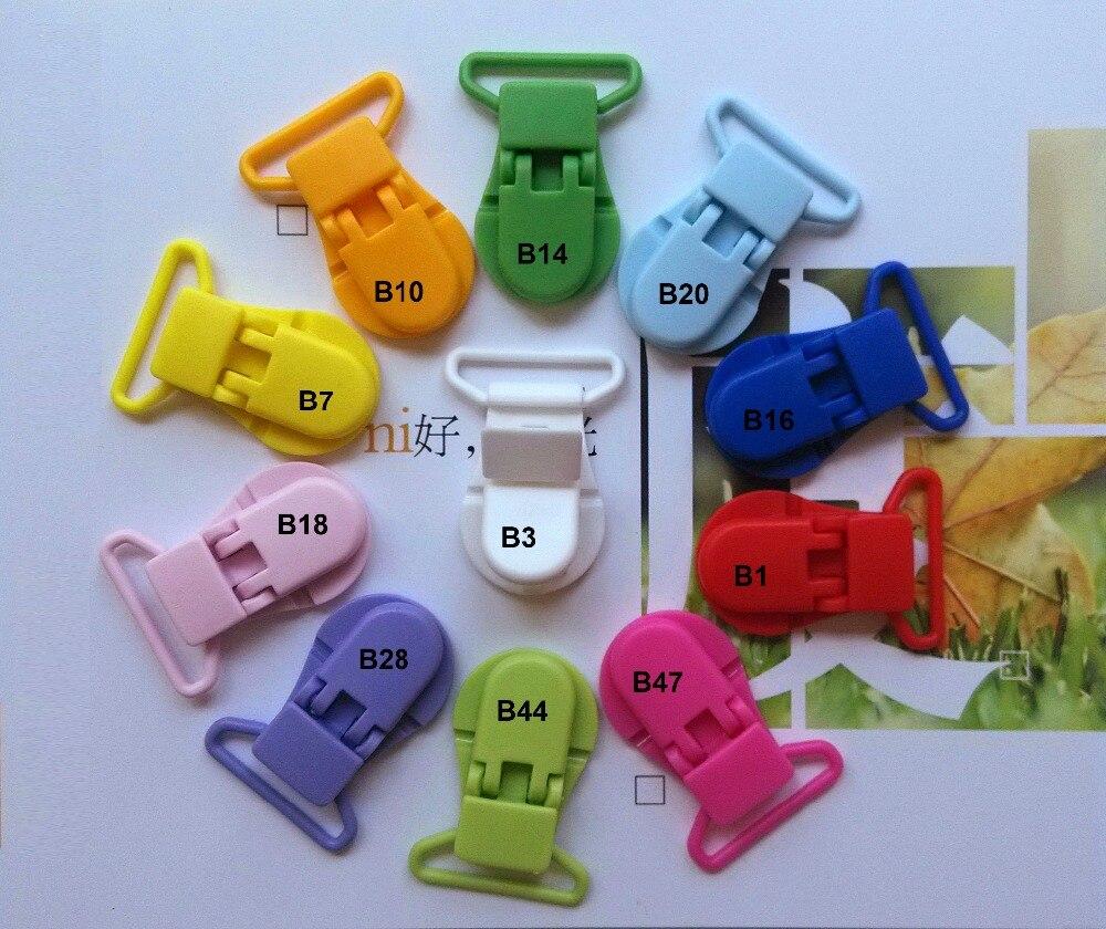 100 Uds SUTOYUEN 25mm forma de C chupete de plástico falso Clip cadena cocodrilo tirante con pinza clips mezclados 11 colores