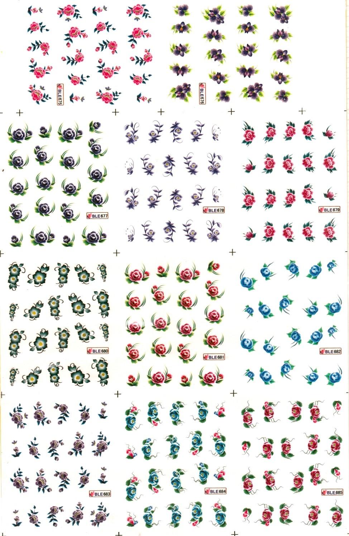 11 pack/lote calcomanía de agua para uñas pegatina de uñas flor jengibre lirio POINSETTIA común BLE675-685