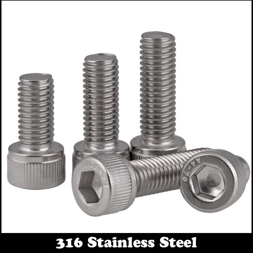 M16 M16*30/35/40/45/50 M16x30/35/40/45/50 304 Stainless Steel Metric Thread DIN912 Allen Head Bolt Hex Hexagon Socket Cap Screw