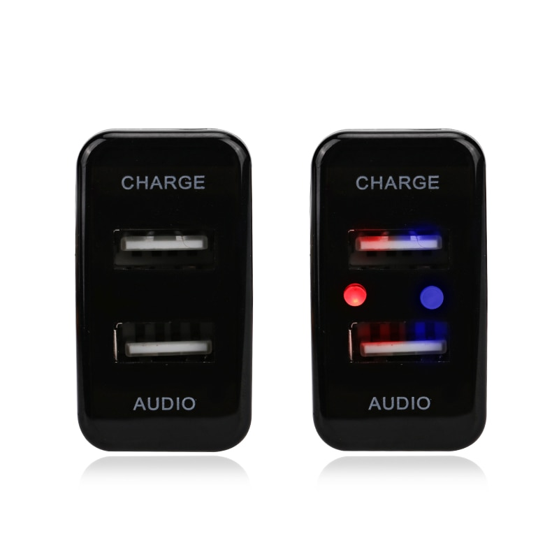 car dual usb charger audio port interface led light for toyota prado 120 series toyota hilux vigo For TOYOTA Hilux VIGO USB Interface Dashboard USB Port 5V 2.1A Car Charger and USB Audio Input Socket Car Entertainment Socket