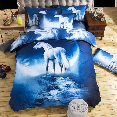 Juegos de cama 3d Individual Doble/tamaño Queen ropa de cama estampado con caballos juego de funda de edredón misterioso