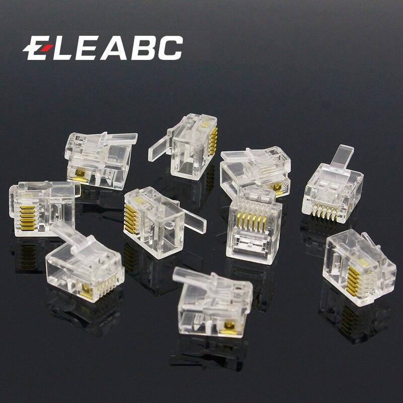 10pcs 6P6C 6 Pins 6 Contacts RJ11 Telephone Modular Plug Jack,RJ11 Connector