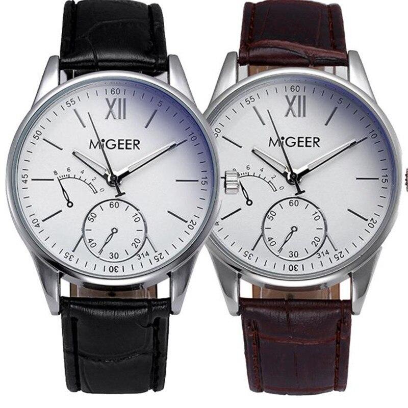 MIGEER Fashion Men Watch Crocodile Faux Leather Mens Luxury Brand Analog Watch Wrist Watches for men quartz erkek kol saati S7