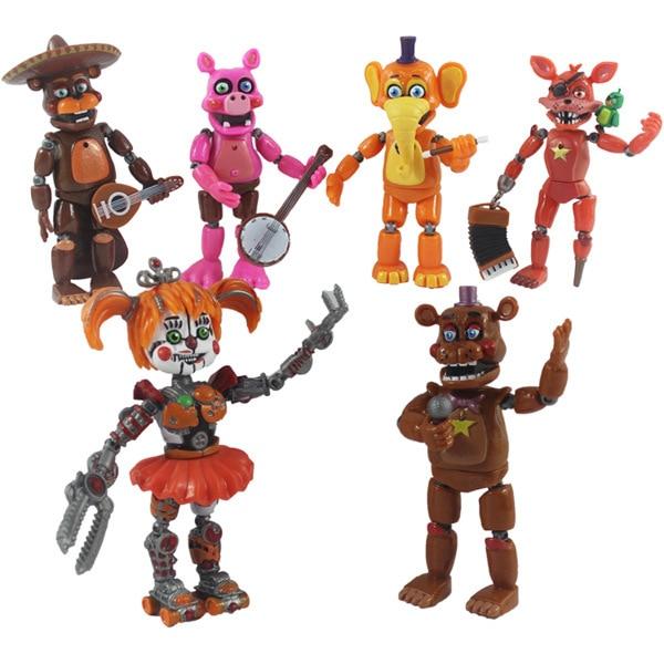 6pcs/set Five Nights at Freddy Action Figure Toy FNAF Bonnie Foxy Freddy Fazbear Bear Figurines Toy Doll with light