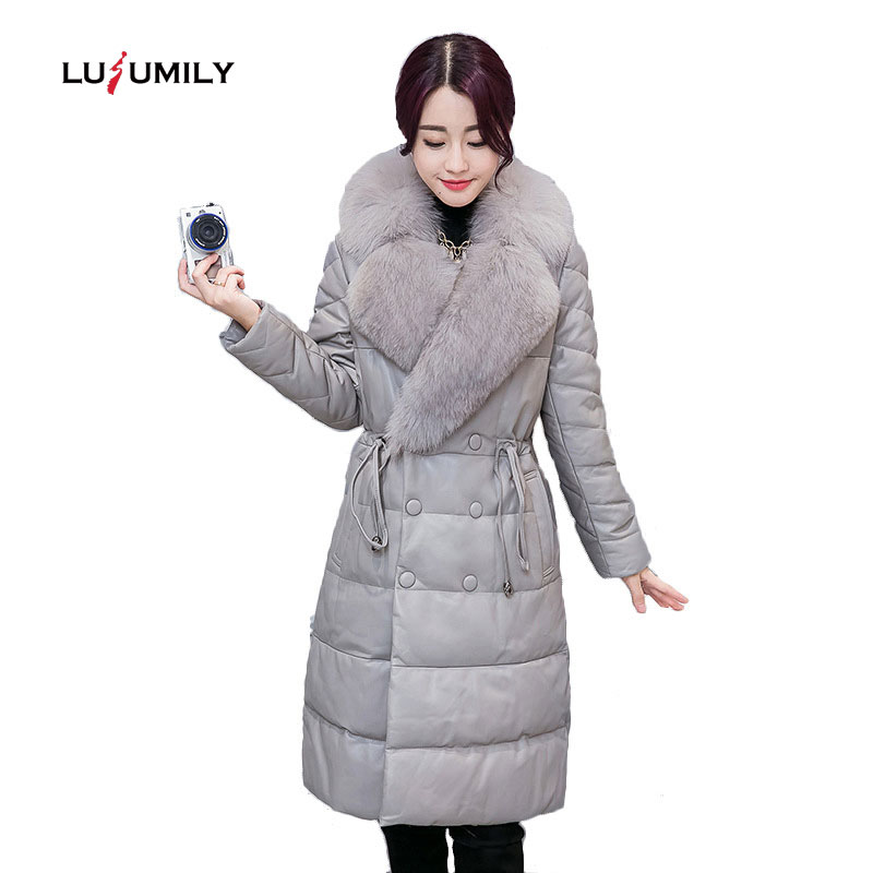 Lusumily Women Winter Faux Fox Fur Collar Leather Jacket Coat Female Slim Long Sleeve Jackets Zipper Outerwear Plus Size Coats
