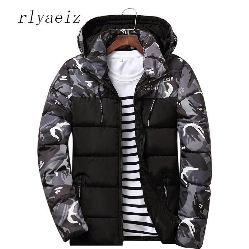 Rlyaeiz 2017 Winter Jacket Men Warm Short Cotton Jackets And Coats Casual Camouflage Coat Thicken Hooded Parka Men Plus Size 4XL