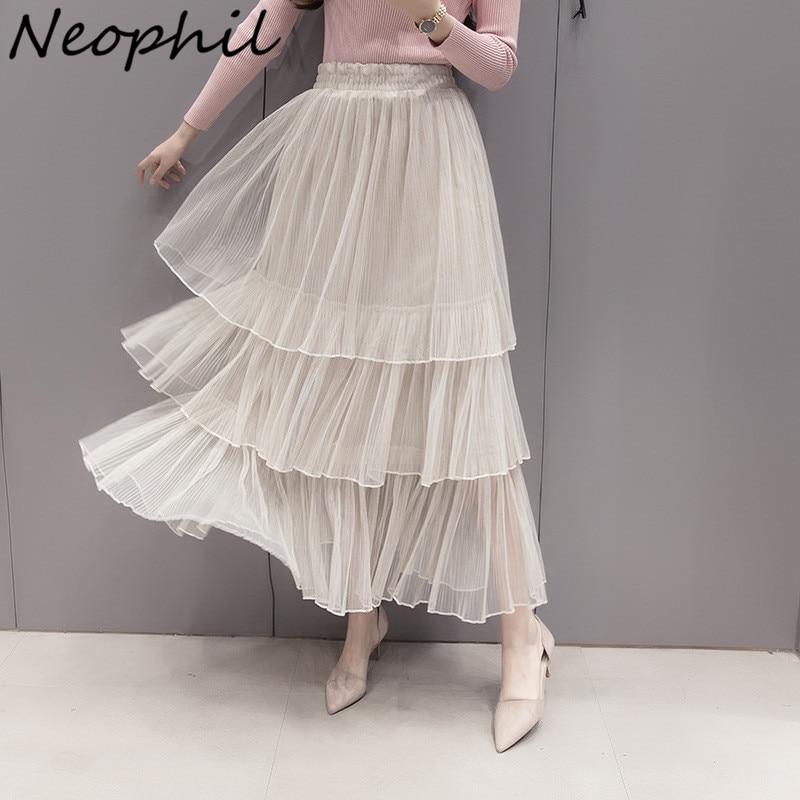 Neophil 2020 verano mujeres tul Maxi faldas gris malla abultada plisada 3 capas escalonadas largo dulce vestido de fiesta Saias Femininas S1516