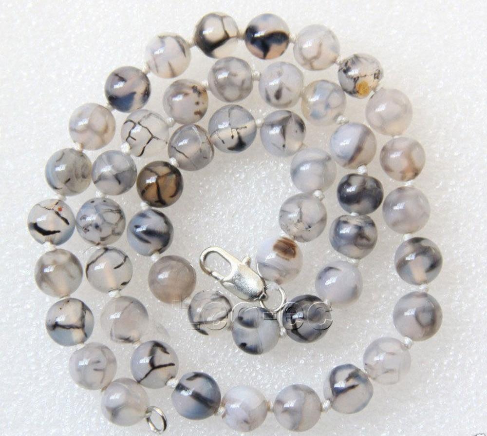 "HOT 8mm Moda White & Black Dragon Veias Beads Colar 18 ""AAA"
