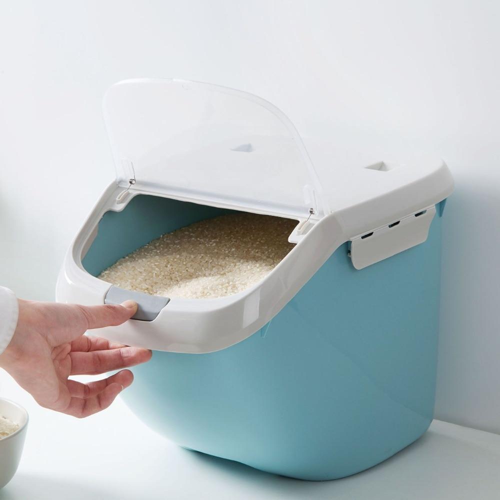 Tapa automática para cubo de arroz, caja de almacenamiento sellada para Control de insectos, 15/10KG, contenedor organizador de harina y galletas con cilindro de arroz
