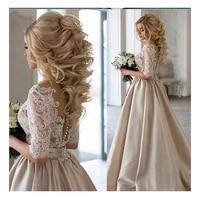 sodigne lace appliques wedding dresses 2019 new design illusion back bride dress elegant wedding gowns whitelvory bridal gown