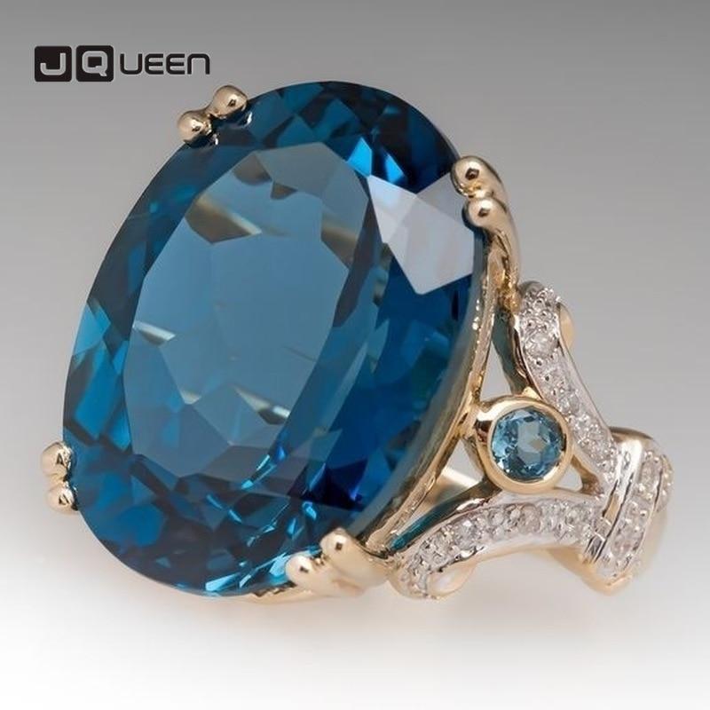 Anillo de boda de compromiso de Color dorado para novia, anillo de mujer, joyería para niña, regalos de cumpleaños, piedra azul, anillos grandes de cristal