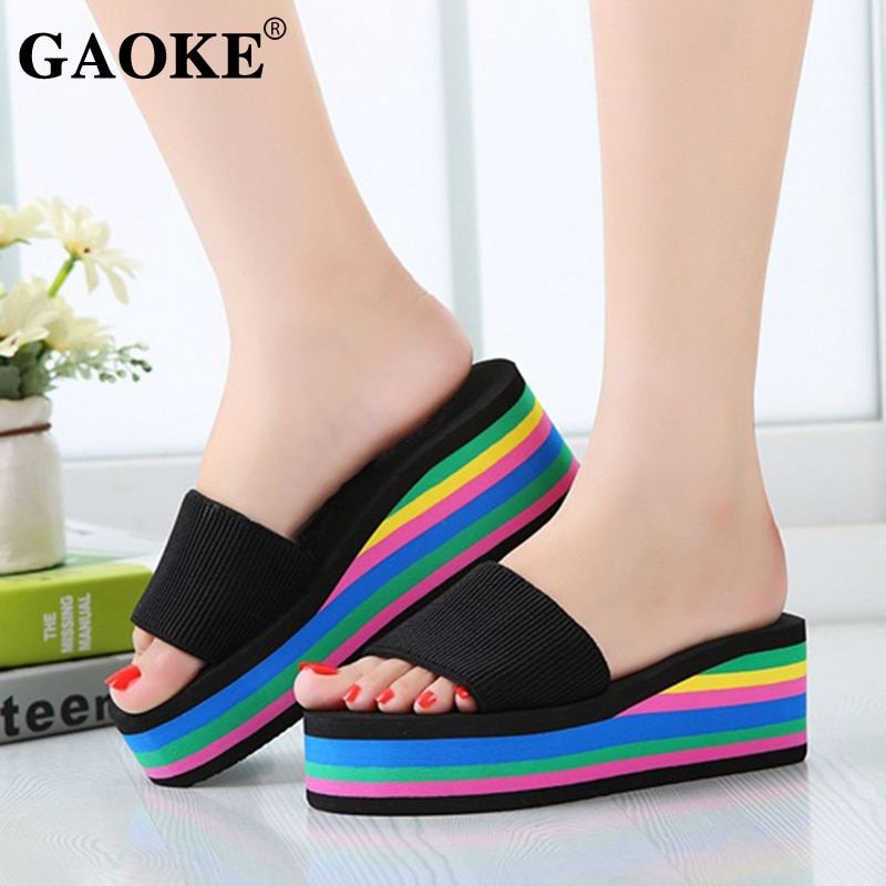 2021 Summer Women Sandal Slippers Platform Bath Slippers Wedge Beach Flip Flops High Heel Slippers Beach Slide Shoes