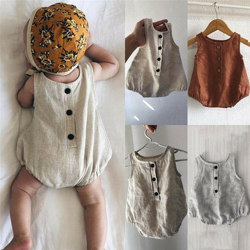 Peleles de lino de algodón para recién nacidos de 0 a 18M, monos de verano sin mangas, Color sólido, ropa Unisex para bebés, peleles de botón