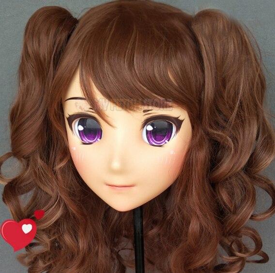 (LanMei-03) Máscara de kigurumi de media cabeza de resina de chica dulce con Cosplay personaje de Anime personaje de dibujos animados máscara de Lolita