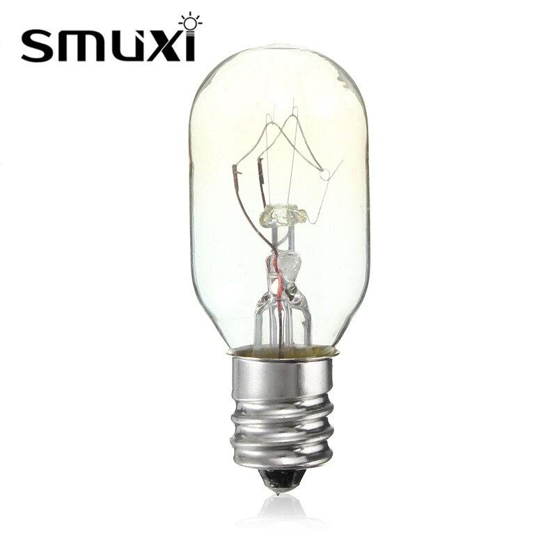 Smuxi bombilla incandescente de alta temperatura 15 W/25 W E12 lámpara de sal tostadora horno refrigerador bombillas de filamento Delgado iluminación 120V